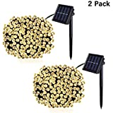 JMEXSUSS Solar String Lights Outdoor ,23 Meters 200 LED Warm White Fairy Lights,Waterproof 8 Mode Decorative Lights for Garden Halloween Christmas Wedding Outdoor Homes Party (Warm White, 200 Led, 2 PCS)