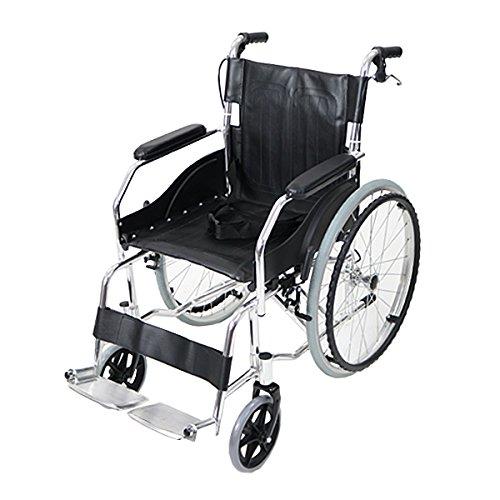 車椅子 アルミ合金製 黒 約11kg 軽量 折り畳み 自走介助兼用 介助ブレーキ付き 携帯バッグ付き...