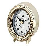 Amazon.co.jp置時計 アンティーク 置き時計 アンティークスタイルクロック オーバル シルバー AC-01802