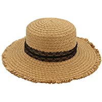 Zhhlaixing Boater Hat for Summer Women Wide Brim Straw UV Sun Protection Hat Ribbon Round Flat Top Hats Beach Holiday