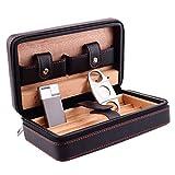 葉巻レザーケース、葉巻4つのスティックを送るように設定されている葉巻ヒュミドール、杉材の木製の裏地付き革表面旅行の携帯用タバコケース、男性のギフトボックス、多色オプション