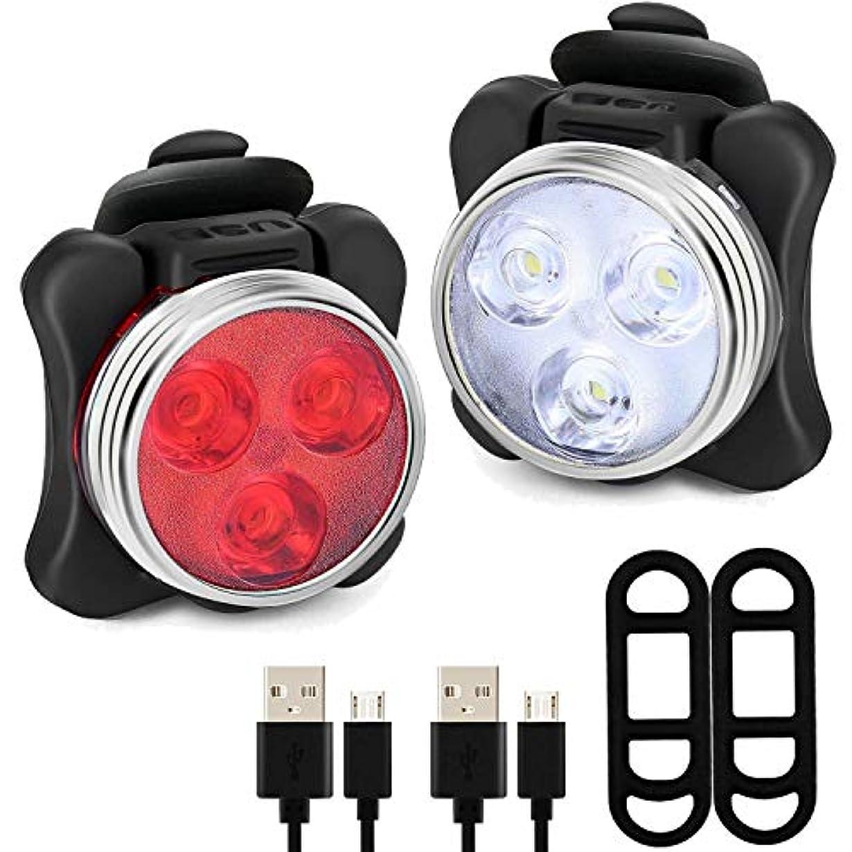 パテ淡いドームLED自転車ライトセット - 充電式LED自転車ライトセット - ヘッドライトテールライトの組み合わせLED自転車ライトセット(4ライトモードオプション、2 USBケーブル)