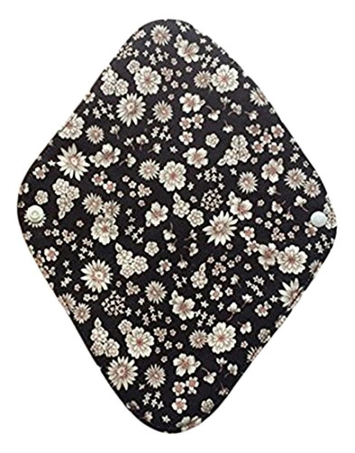 欠員支援する接辞華布のオーガニックコットンの布ナプキンホルダー (約17×約23×約0.3cm) ボタニカルブラック