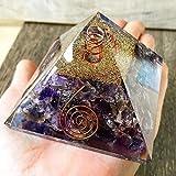 Opulence Metaphysical Large LG-70 MM Orgone Amethyst Stone Crystal EMF Protection Balancing Pyramid with Quartz Energy Point