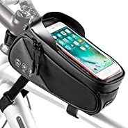 Bike Frame Bag, Waterproof Bicycle Front Tube Pouch Bag with Cards Holder Touch Screen Window and Reflective S