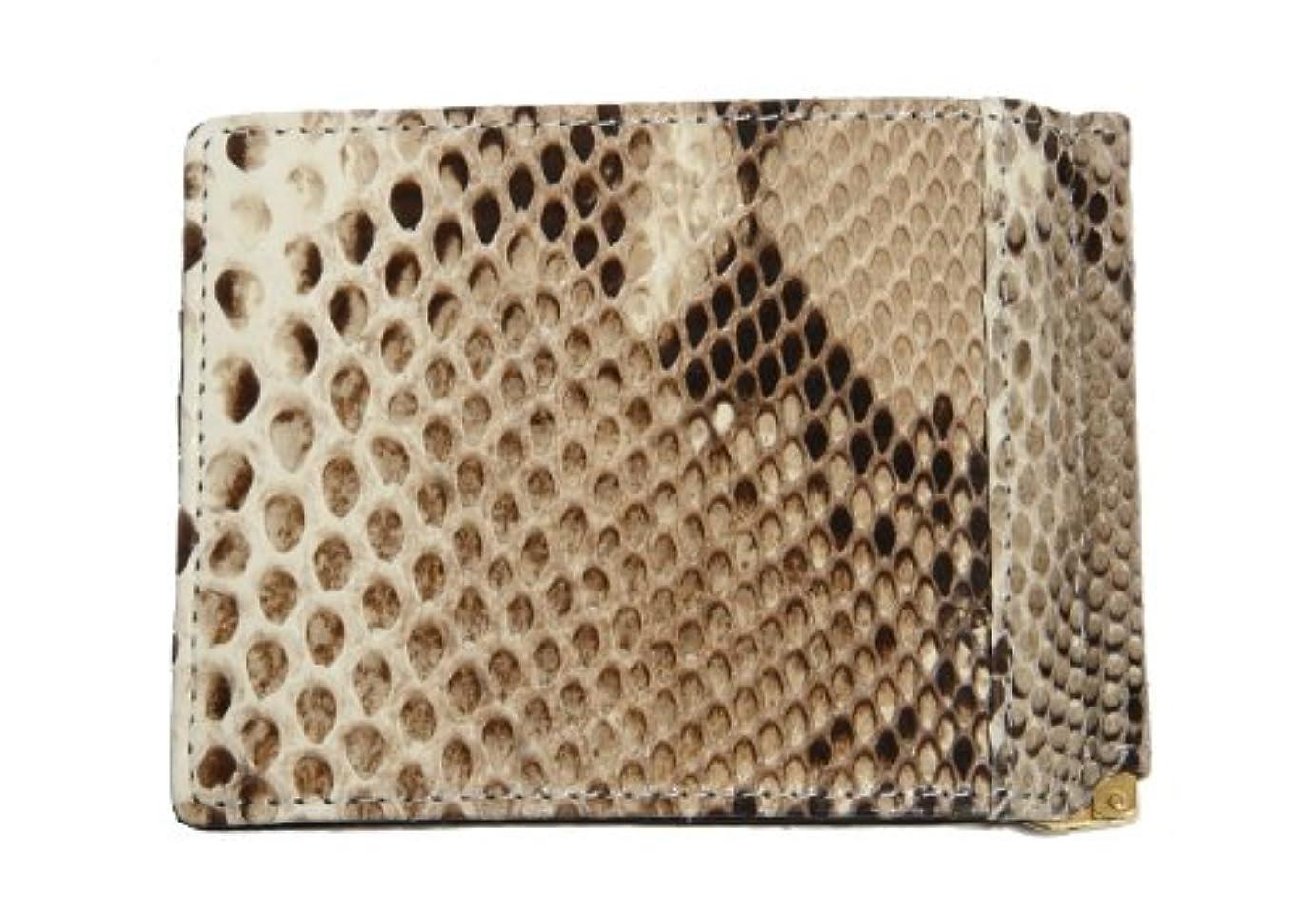 やめる想起期限本革 蛇革 パイソン ニシキヘビ 札入れ 札ばさみ 二つ折り 財布
