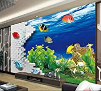 Lcsyp カスタム3D壁画、3 dレンガ壁水中世界、リビングルームのソファテレビ壁寝室の壁紙-250X175CM