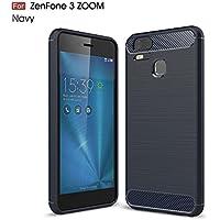 Asus ZenFone Zoom S ZE553KL ケース シリコン ショックプルーフ カバー カーボンファイバー TPU 超薄型 耐久性のある 炭素繊維 柔らかい 保護 カバー ために Asus ZenFone Zoom S ZE553KL (ブルー)
