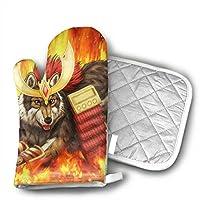 ハスキーの武士 鍋つかみ 鍋敷き 耐熱ミトン オーブンミトン り止め クッキング用 バーベキュー用 フリーサイズ 耐熱温度200℃