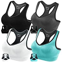 FITTIN Racerback Sports Bras for Women- Padded Seamless Sports Bra for Yoga Gym Workout Fitness