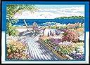 クロスステッチ刺繍キット 布地に図柄印刷 花咲く海辺