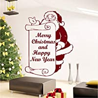 Mingld Merry Christmas And Happy New Year Santa Claus Wall Decal Vinyl Sticker Home Art Bedroom Decor Living Room Mural 42X57Cm