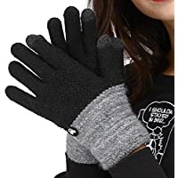 LETHMIK Duotone TouchScreen Winter Gloves,Mens&Womens Unique Knit Warm Gloves with Warm Wool Lining