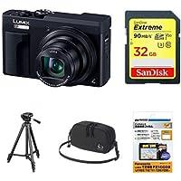 パナソニック コンパクトデジタルカメラ ルミックス TZ90 光学30倍 ブラック DC-TZ90-K + アクセサリー4点セット(SDカード32GB + 保護フィルム + マルチポーチ + 三脚)
