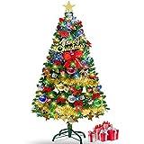 クリスマスツリー セット120㎝ オーナメント 13種類 電池式LEDライト付き 組立簡単 飾り おしゃれ