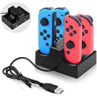 Nintendo Switch Joy-Con充電スタンド UMTELE 充電グリップ Joy-Conコントローラー充電器 指示ランプ 挿すだけ ジョイコン 急速充電ホルダー 2USBポート USBケーブル付き