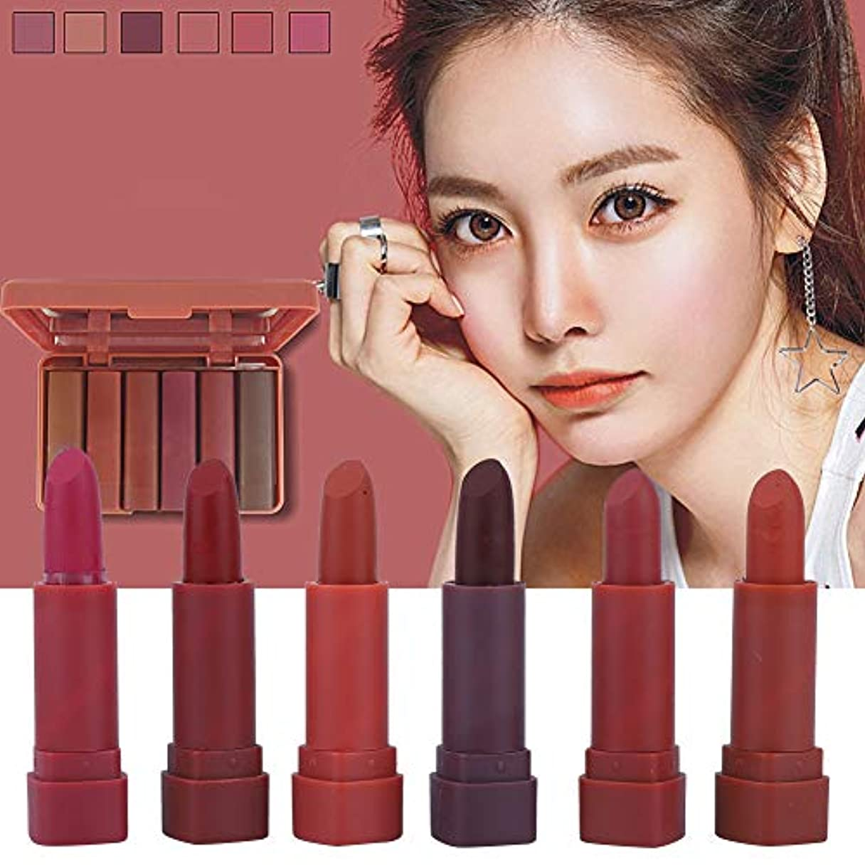 思いつく煙相反する6色/セット リップスティック長続きがする自然なローズの香りの唇の化粧品