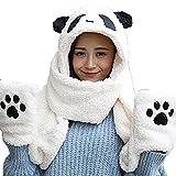 【Ani Mam Kids】あったか 便利 グッズ 耳付き 帽子 マフラー 手袋 一体型 タイプ 肉球 付 アニマル パンダ (大人用, 白)