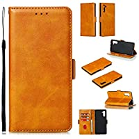 Abtory Galaxy Note 10 Wallet ケース, ケース 手帳型 耐衝撃 スマホケース 薄型 高級感 カード収納 マグネット スタンド機能 for Samsung Galaxy Note 10 Brown