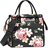 Kaome Lunch Bags for Women Reusable Insulated Lunch Bag for Men Double Zippers Wide Open Lunch Cooler Container Bag Durable Leakproof Picnic Lunch Box for Work School Outdoor Flower Pink