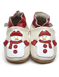 Soft Leather Baby Shoes Snowman [ソフトレザーベビーシューズの雪だるま] 6-12 months (12 cm)
