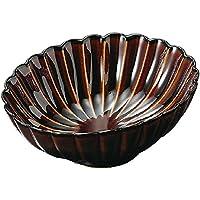 山下工芸(Yamasita craft) うるしブラウン菊型楕円刺身鉢 16×16×13cm 11019010