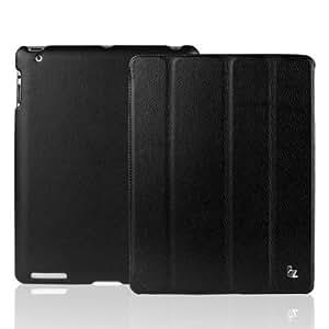 【日本正規代理店品】 JISONCASE 【iPad 2/第3世代iPad/第4世代iPad用バックケース&スマートカバー】 マグネチックスマートレザーケース 革 ブラック JS-IPD-007 Black