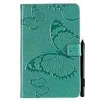 YHUISEN 蝶の花の花柄PUレザーウォレットスタンドタブレットケースサムスンギャラクシータブA 8.0 2018モデルSM-T387 (色 : 緑)