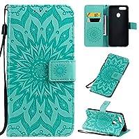 OPPO A5 ブックウォレットケース Luckyandery PUレザー カード収納 OPPO A5 マグネット式 財布型 耐衝撃 スタンド スマホケース,Green