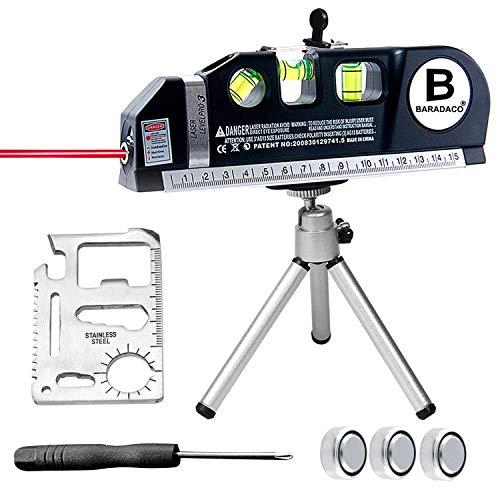 レベルレーザー BURADACO 多機能 水平器 IIIA製品のパワー出力 水平垂直測定 地平線測定 室内飾り測定用 8FT/2.5M シルバーメタルの三脚ブラケットを付属(1台4役)