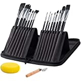MEEDEN Art Paint Brush Set, 15 Different Shapes/Sizes and Free Painting Knife & Watercolor Sponge Short Handle for Acrylic Oil Gouache Watercolours with Carrying Case