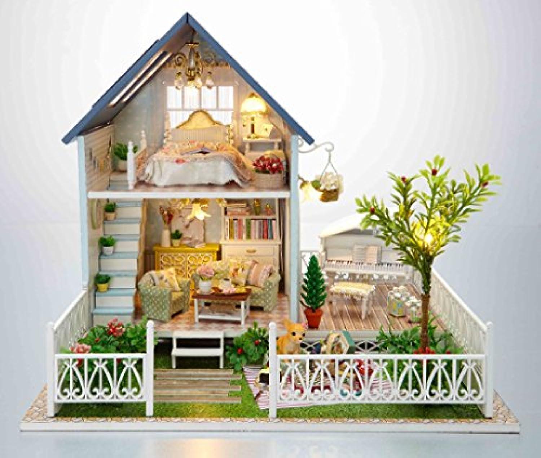 LEDライト 付属 西洋風 ドールハウス 組み立て キット 自動 照明 点灯 音声感知 人形 おもちゃ ホビー ミニチュア 小物 インテリア