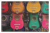 オースティン、テキサス–Acoustic Guitars On壁 10 x 15 Wood Sign LANT-56944-10x15W