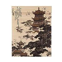 WUFENG 竹カーテン 陰影 ローリングシャッター キャラクターシリーズ 印刷 パーティション ティーハウス スタディルーム ナチュラルバンブー (色 : A, サイズ さいず : 90x180cm)