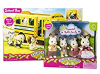 Maven Gifts: Calico Critters of Cloverleaf Corners Bundle - Hopscotch Rabbit Family Set with School Bus Set - Build