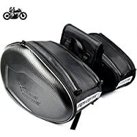 MOTO CENTRIC バイク用  ツーリングバッグ サイドバッグ 上質 大容量 サドルバッグ (拡張機能あり) ブラック