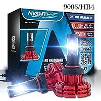 Nighteye車LEDヘッドライト電球変換キット、60W 10,000lm 6,500Kクールホワイトクールホワイトクールホワイトオールインワン車LEDヘッドライト電球、超明るいLUMILEDS Luxeon zes COB chips-2年間保証 9006/HB4 A344-X1