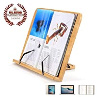 BamBoo Book Stand Reading Rest holder Cookbook Stand Foldable Tablet Textbooks stands/Musicbook / PC iPad textbook/Multipurpose Portable Desk Bookrest with Adjustable Backing