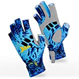 KastKing Sol Armis Fingerless Fishing Gloves, Kayaking Gloves, SPF 50 Sun Gloves for Paddling, Rowing, Hiking- Breathable Spandex Fabric - Comfortable - Extended Cuff - Pull Tabs - Prym1 Camo