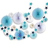 SUNBEAUTY ペーパーファン スターガーランド 飾り付けセット インテリア 写真背景 誕生日 ウェディング パーティー (ブルー)