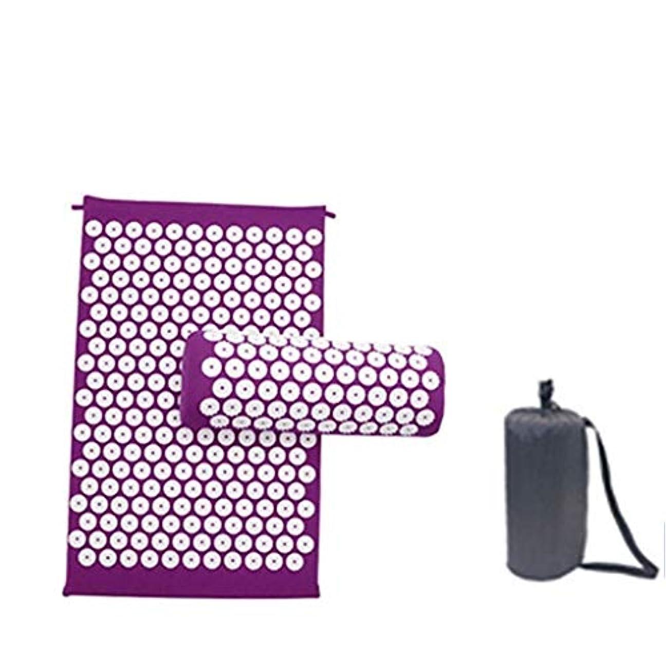 ヨガマット、マッサージクッション、鍼灸マッサージクッションは、圧力/腰痛指圧クッション/枕、ヨガマットを和らげます (Color : 紫の, Size : 1)