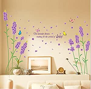ウォールステッカー パープル ラベンダー 花フラワー  壁紙シール ガーデン 剥がせる 壁紙 部屋飾り 春ウォールステッカー 防水 おしゃれ ホーム飾り ウォールペーパー