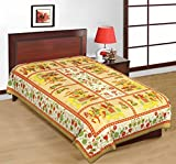 Multi Color 100% Pure Cotton Single Bed Sheet Elegant Design For Bedding or Decoratuve (Jaipuri Bed