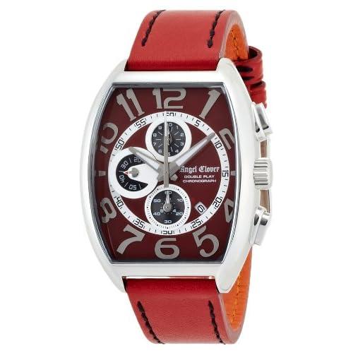 [エンジェルクローバー]Angel Clover 腕時計 ダブルプレイ レッド文字盤  カーフ革ベルト デイト クロノグラフ DP38SRERE メンズ