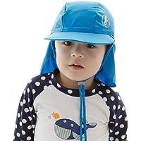 50+ UPF 紫外線 UVカット 幼児の帽子 フラップ付き ベビー 赤ちゃんキャップ キッズ 帽子 女の子 男の子 男女児 5カラー(2?8歳)【海外直送品】 (M(48~50cm), Blue)