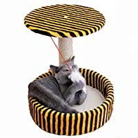 玩具付き猫の木、ひもがちりばめられた柱、強い引っかき抵抗力のある猫クライミングフレーム、猫掻き取り板/猫用トイレ砂/猫用品、四季用跳躍プラットフォーム Brown L
