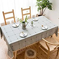 台所ダイニング卓上装飾、複数のサイズのための固体刺繍格子テーブルクロスコットンリネン防塵テーブルカバー。, E, 140x260cm