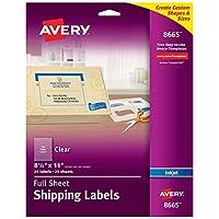 Full-Sheet Inkjet Labels, 8-1/2 x 11, Clear, 25/Pack (並行輸入品)