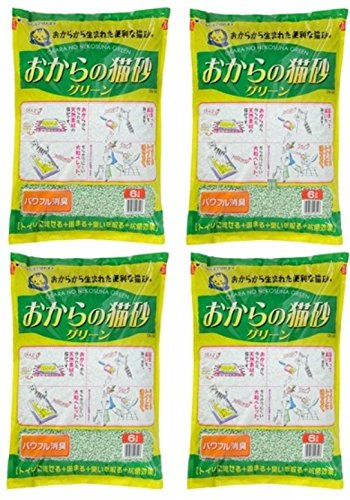 常陸化工 おからの猫砂グリーン6L×4個 (ケース販売)