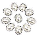 ノーブランド品 20個入り 20mm DIY 手芸用 ビーズ ボタン 楕円 キラキラ 飾り材料 真珠